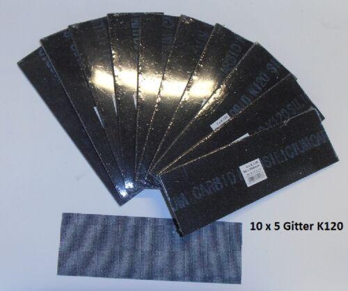 10 Pack ´5 St. 93 mm x 280 mm 50 Stück Schleifgitter Korn 120 Silicium Carbid