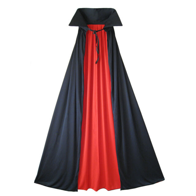 """54"""" Fully Lined Deluxe Adult Vampire Cape ~ HALLOWEEN HERO MAGICIAN BLACK CAPE"""