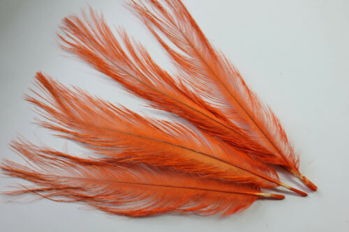 """/""""Glycerined vulture feathers/"""" quills orange rhea fly tying millinery hat trims"""