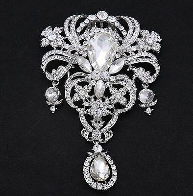 SILVER TONE HEART & CROWN CLEAR DIAMANTE RHINESTONE CRYSTAL DROP BROOCH PIN