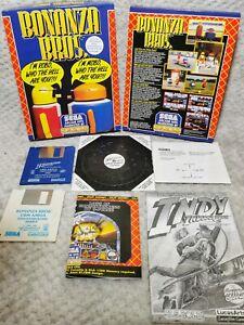 Retro Commodore Amiga Sega U.S ORO BONANZA BROS + Indiana Jones 100% COMPLETO