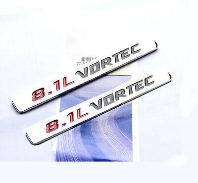 2x OEM 8.1L VORTEC HOOD emblem decals GMC Sierra 2500HD 3500 RED BLACk YU