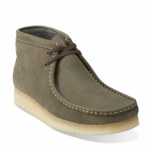 35e620f21252d0 Clarks of England Olive Green Leather Original Wallabee Gum Sole 09449  11.5m for sale online
