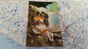 Baden-württemberg Ansichtskarten Schnelle Lieferung Am Fluss Paar Kuss Liebe Ak Postkarte 9293