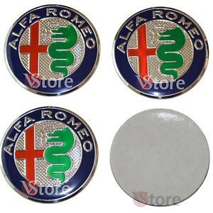4-Tappi-Coprimozzo-per-Alfa-Romeo-147-156-GT-Giulia-2016-Mito-50mm-adesivi-Green