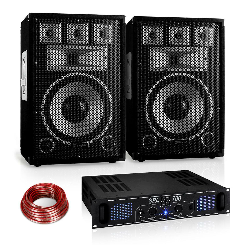 SET DJ WARM UP PARTY 2X ALTOPARLANTI PASSIVI DA 200W RMS AMPLIFICATORE CAVO