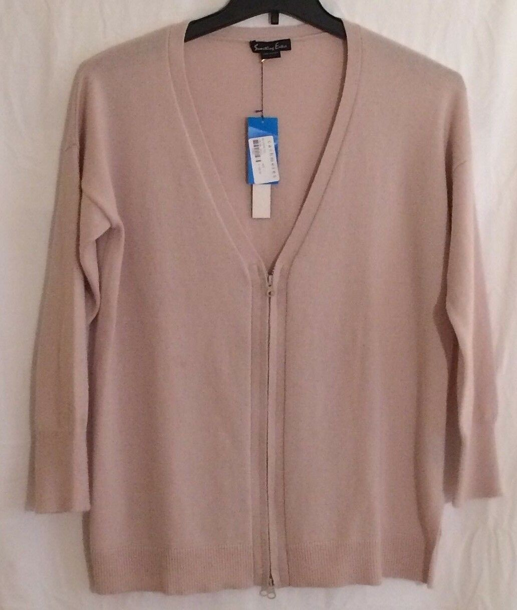 Wool Cashmere Blend Zip up Sweater Size Large color Sand from Something Extra