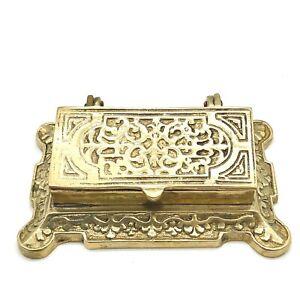 Vintage-Ornate-Brass-Stamp-Holder-Inkwell-3-Wells-Hinged