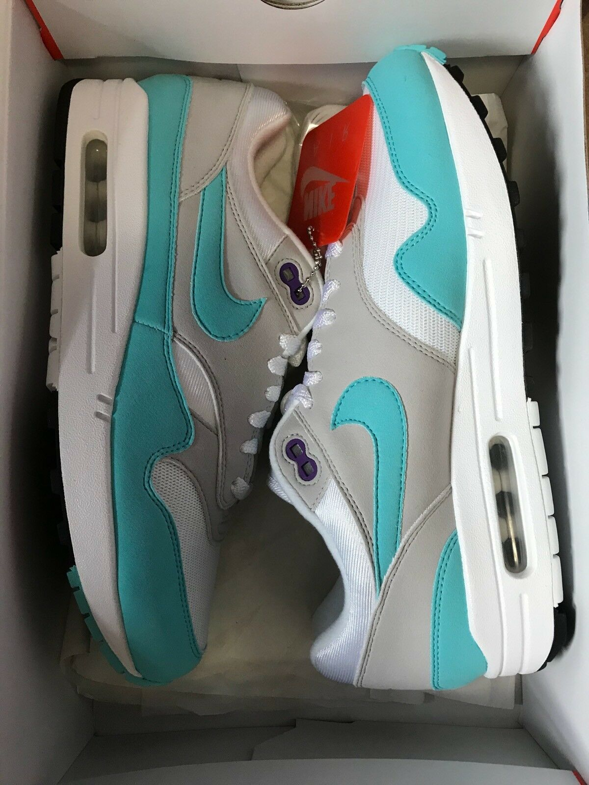 Nike Air Max 1 Anniversary - Size 9- White/Aqua-Neutral Grey 908375-105 New