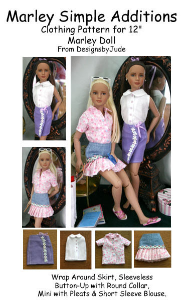"""Simple Additions Doll Clothes Sewing Pattern 12"""" Marley & 14"""" Patience Tonner"""