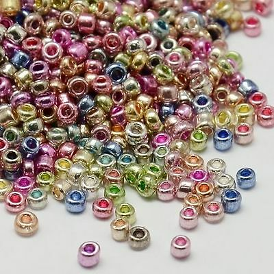 1 Box Round Electroplate Glass Seed Beads Iris Round Silver Loose Spacer Finding