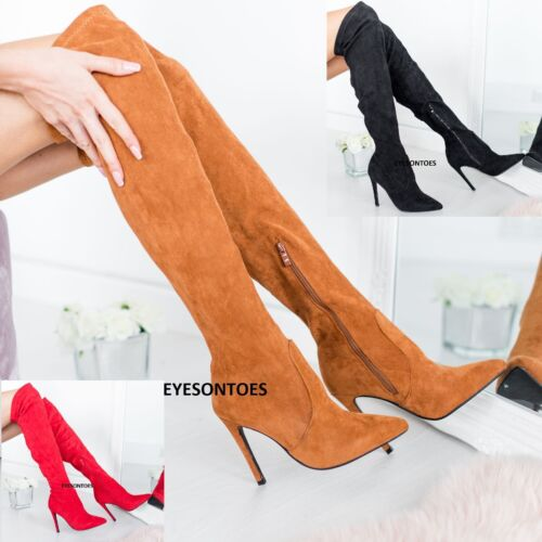 LADIES SUEDE WOMENS ZIP MID STRETCHY KNEE HIGH FAUX PENCIL STILETTO HEELS SIZE
