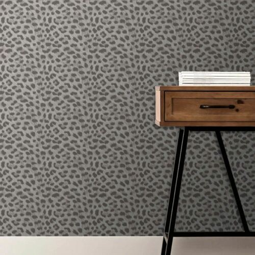 Animal Print Snow Leopard Fur Effect Wallpaper Silver Grey Metallic Fine Decor