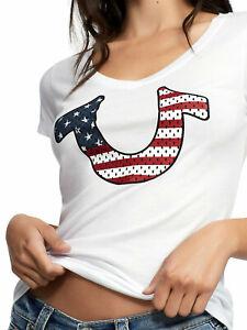 True-Religion-Women-039-s-Flag-Horseshoe-Round-V-Neck-Tee-T-Shirt-in-White