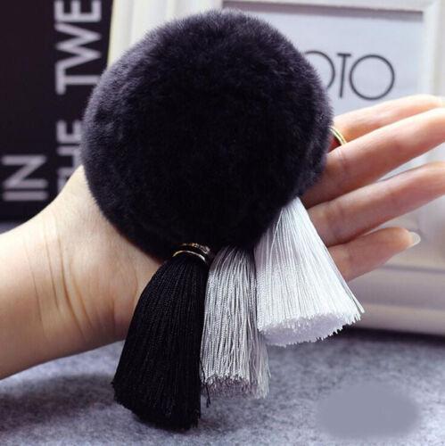 New Genuine Rabbit Fur Ball PomPom Phone Car Keychain Handbag Key Ring /& Tassel