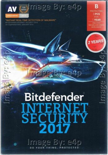 BITDEFENDER INTERNET SECURITY 2017 3 PCS 2 YEARS BRAND NEW FACTORY SEALED RETAIL