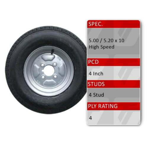 """TRIDENT 5.00-10 4 Stud 4/"""" 101.6mm PCD 10 Inch Trailer Spare Wheel Tyre 72N 4 Ply"""