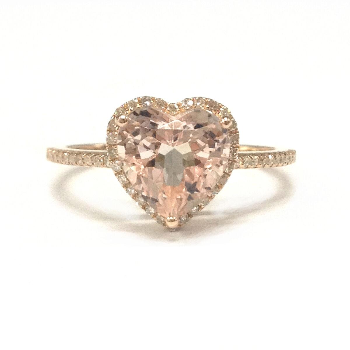 14K pink gold 8mm Heart Shape Pink Morganite Diamonds Wedding Anniversary Ring