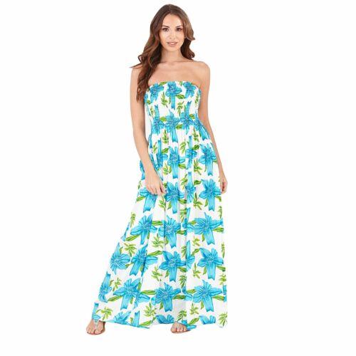 Ladies Summer//Beach Strapless//Bandeau Maxi Sun Dress Size 8-22 NEW