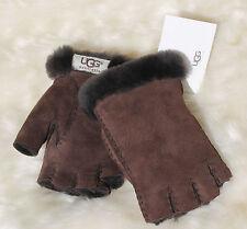 NWT Ugg Australia Fingerless Shearling Glove Size M Medium Chocolate Brown