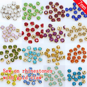 d14aa417969 144p 7mm glass crystal strass sew on Gold bottom cup rhinestones DIY ...