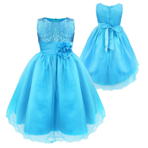 US Flower Girl Dress Child Baby Party Wedding Birthday Princess Christening Gown