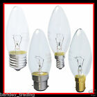 5, 10, 20 CANDLE LIGHT BULBS CLEAR 25W 40W OR 60W BC SBC ES OR SES UK FITTING