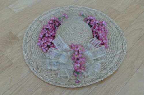 Wide Brimmed Straw Hat with decorative flower acc… - image 1