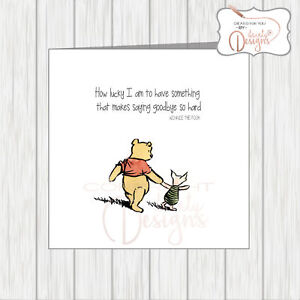 Details about Winnie The Pooh Sorry You're Leaving Card - Workmate  Colleague Office Friend etc