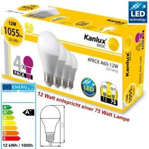 LED-SMD-Birnen-Lampe-4-x-E27-12W-75-Watt-Leuchtmittel-Warmweiss-Gluehbirne
