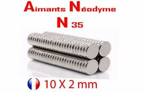 Aimant Neodyme 10x2 Mm N35 Très Puissant Magnets Photo Fimo Scrapbooking