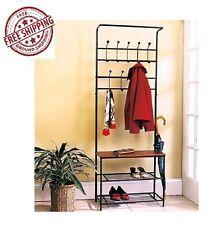 Entryway Metal Hanger Bench Hall Hat Bag Coat Rack Stand Tree Storage Organizer