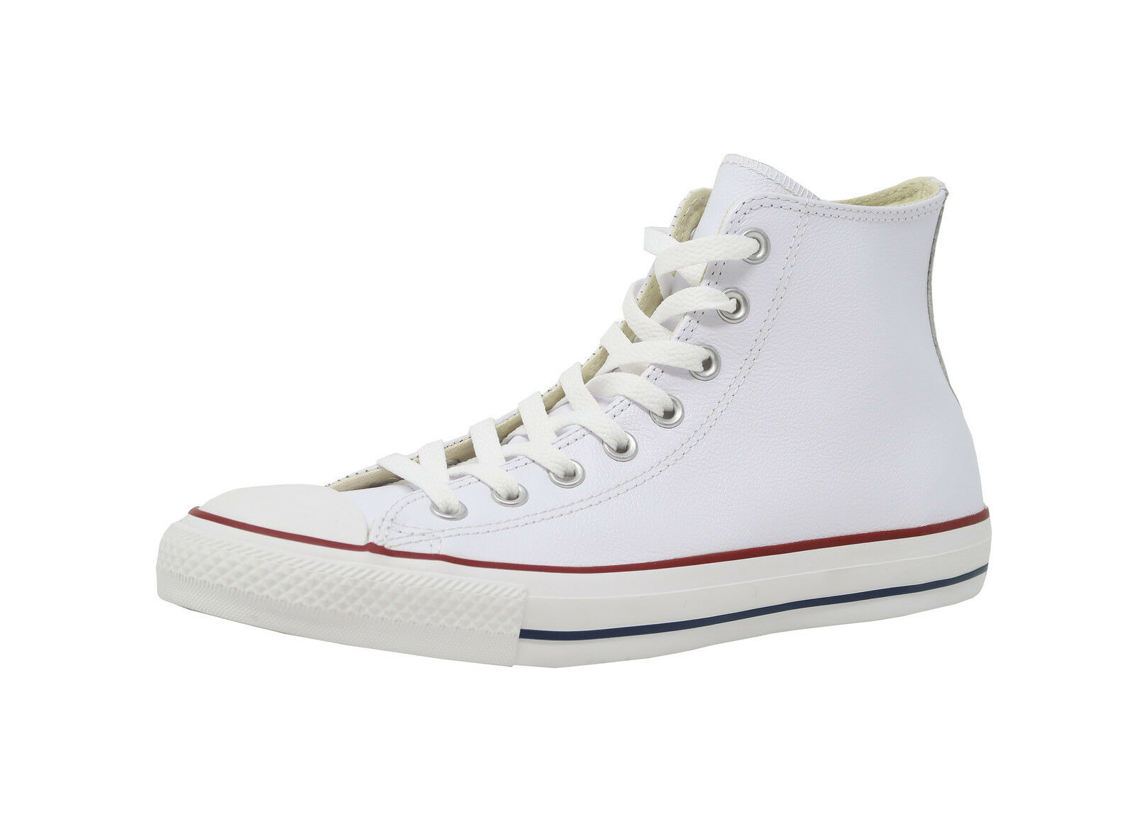 CONVERSE All Star Chuck Taylor Hi Top White Leather Red Sneakers Adult Men shoes