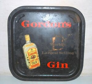 Old-Vintage-Gordon-039-s-Gin-Tray-Dry-Gin-Distillery-London-advertising-Serving-Tray