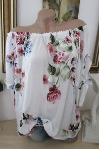 ITALY Damen Top Blumen Tunika Hängerchen Floral Sommer Oversize Bluse Rosa 40 42