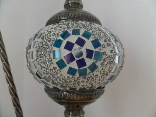 Turkish Lamp Swan Hand Made Moroccan Table Mosaic Colourful Glass Blue Circle