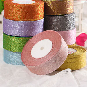 25Yards-20-40mm-Glitter-Metallic-Ribbon-Bows-Craft-Wedding-Christmas-Party-Roll