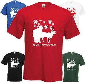 Christmas Top.Details About Naughty Santa Funny T Shirt Xmas Gift Tee Christmas Top Joke Rudolph Present