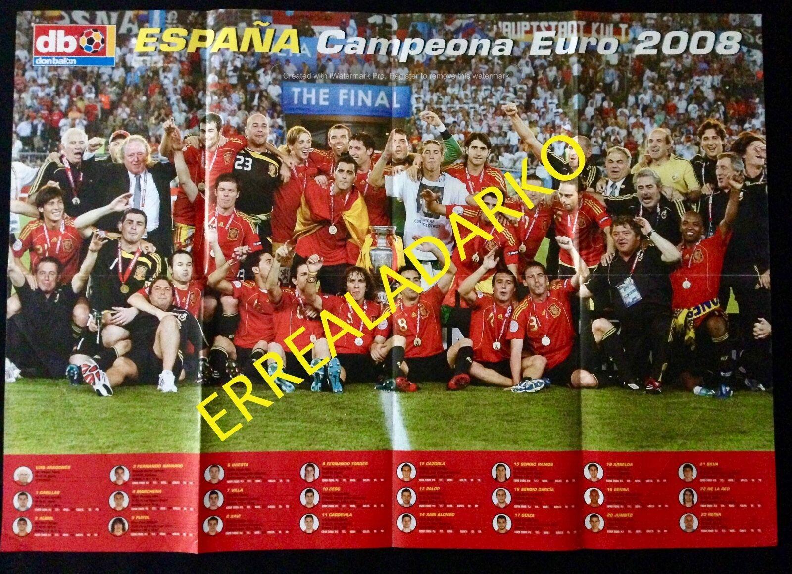 POSTER DON BALON DESPLEGABLE SELECCION ESPAÑA CAMPEONA EUROCOPA 2008 FUTBOL