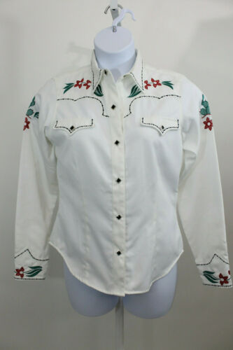 Roper White Red Floral Women's  Western Shirt   SZ