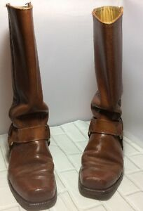 Frye-Vintage-Mens-Harness-Motorcycle-Dark-Tan-Leather-Boots-Size-6-5-D