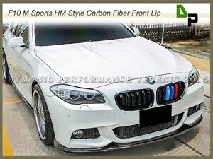 carbon fiber hm style front bumper lip fit for bmw f10 5 series w m sport pack ebay