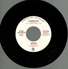 Styx, Light Up; Pr Mono/Stereo 45 Record