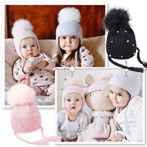 Ball Warme Strickmützen Kind Wintermütze Häkeln Baby Ohrhörer Hut Ebay