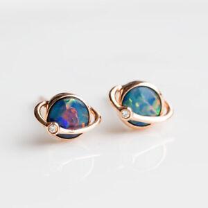 Image Is Loading Earth Design Australian Doublet Black Opal Diamond Stud