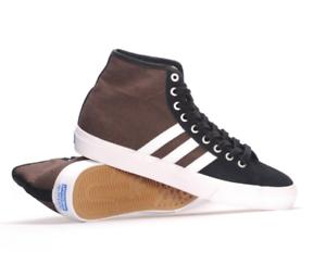 2019-NIB-MENS-ADIDAS-MATCHCOURT-HIGH-RX-SHOES-9-Black-White-Brown-skate