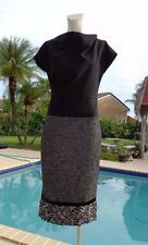 MAX MARA MULTICOLOR TWEED DETAIL SLEEVELESS COCKTAIL DRESS Sz 44 MADE IN ITALY