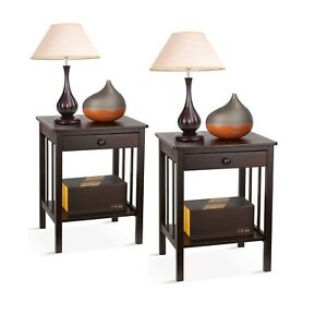 Set of 2 Night Stand Layer w//Drawer Bedside End Table Organizer Bedroom