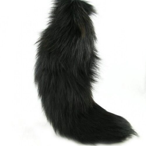 """Large DYED BLACK 100/% GENUINE FOX TAIL//QUEEN//DRAG//FUR KEYCHAIN 1pc 11/""""-14/"""""""