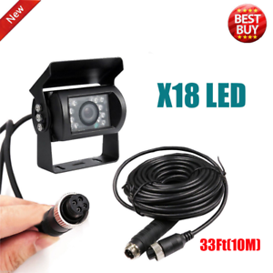 4Pin Connector Rear View CCTV IR Camera For RV Trailer Truck W// 33Ft Video Cable